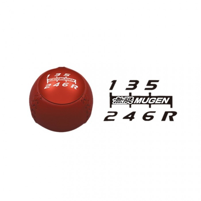 MUGEN Leather Gear Shift Knob Red