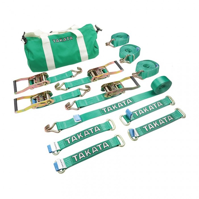 Takata Trailer Vehicle Tie Down Straps Set Green