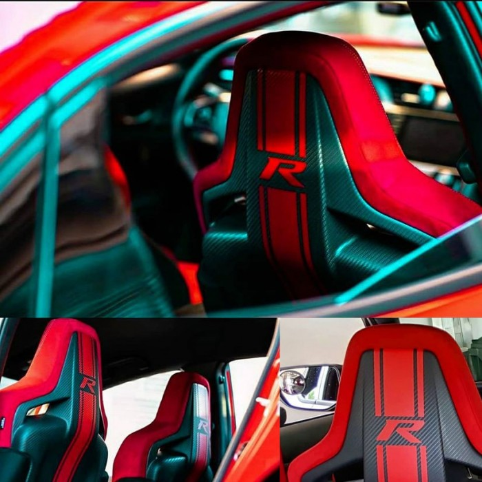 Red Type R Racing Stripes Seats Stickers - Civic Type R FK8