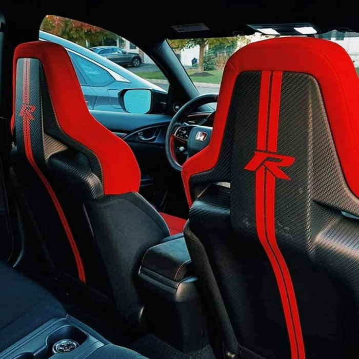 Slim Red Type R Racing Stripes Seats Stickers - Civic Type R FK8