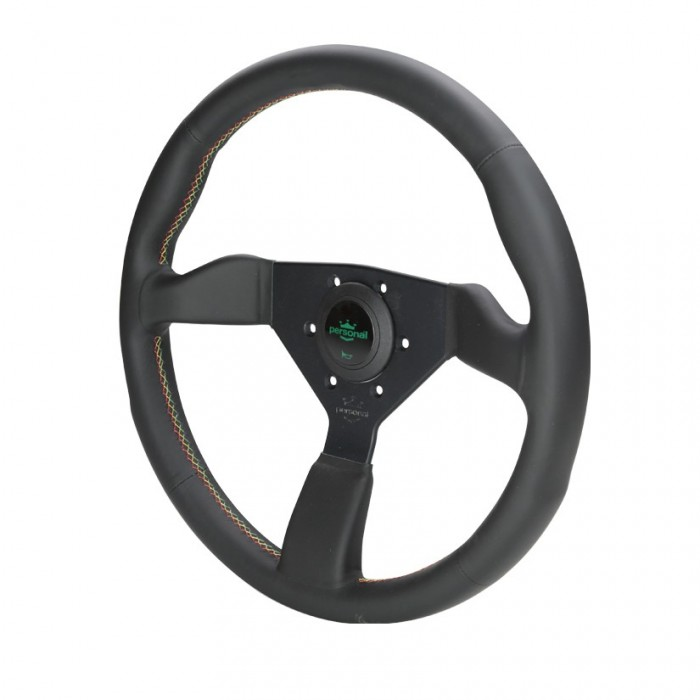 Personal Neo Grinta Suede Leather Steering Wheel - 350mm Red Yellow Green