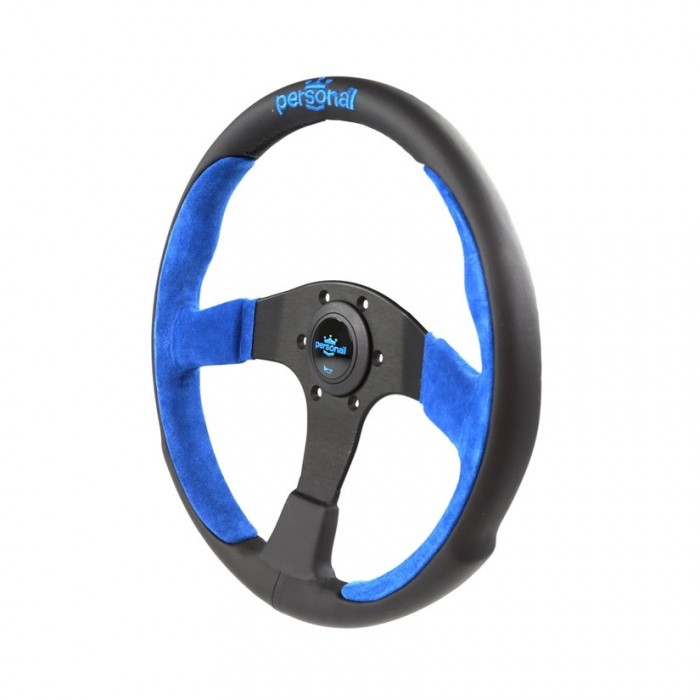 Personal Pole Position Suede Leather Steering Wheel Blue - 330mm