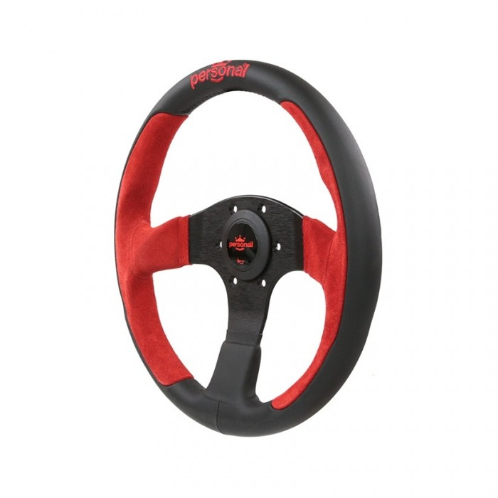Personal Pole Position Suede Leather Steering Wheel Red - 350mm