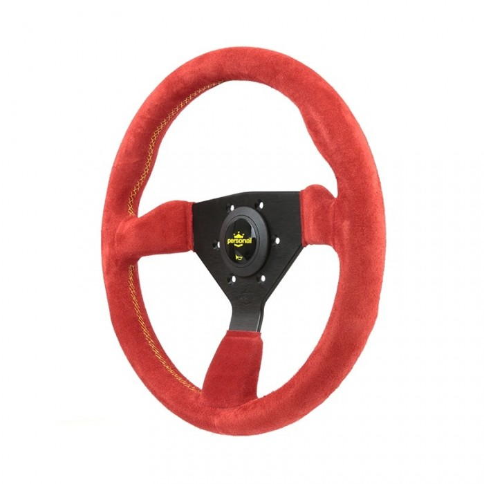 Personal Grinta Suede Leather Steering Wheel Red - 330mm